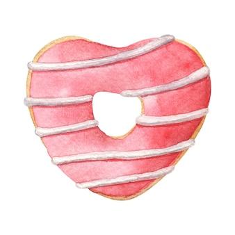 赤い釉薬をかけたハート型のドーナツ。白で隔離の手描き水彩イラスト