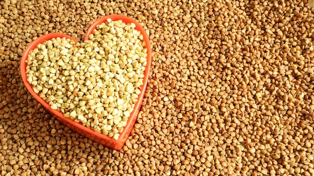 Heart shaped dry green and fried buckwheat. great food. healthy groats.