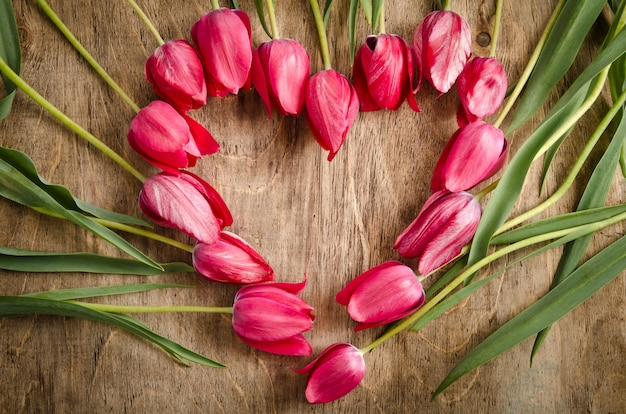 The heart-shaped frame of fresh tulips is laying on an old rustic wooden table