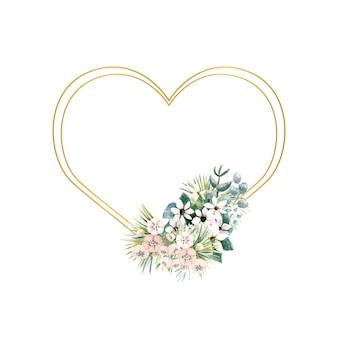 マタタビの小さな花とハート型のフレーム
