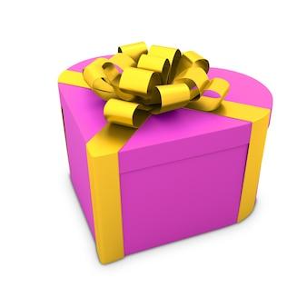Подарочная коробка в форме сердца с лентой