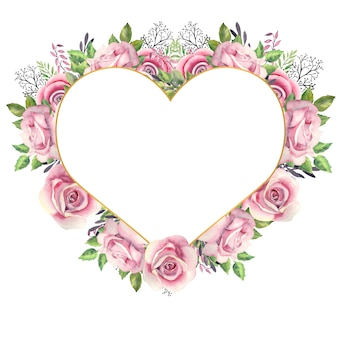 Heart shaped gold frame with a watercolor flowers