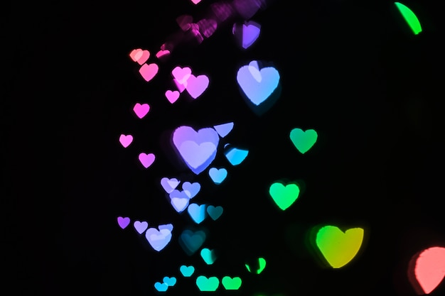 Heart-shaped lights of bright colors