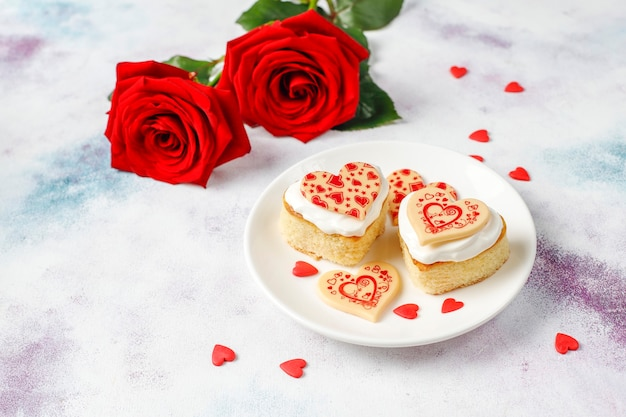 Heart shaped mini cakes for valentine's day.