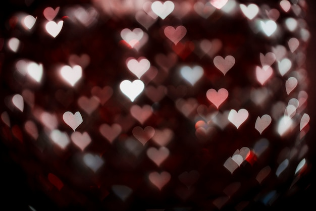 Heart shaped neon lights background