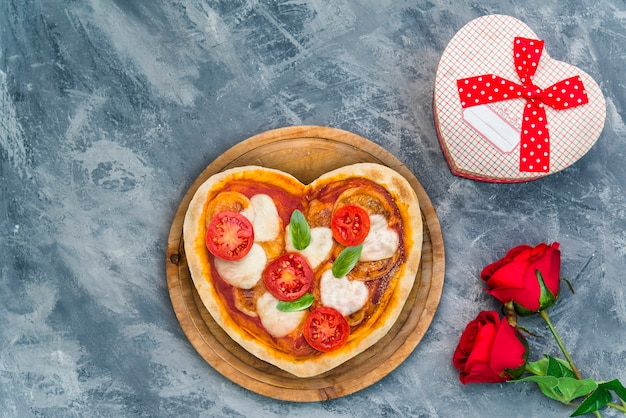Heart-shaped pizza for a special evening