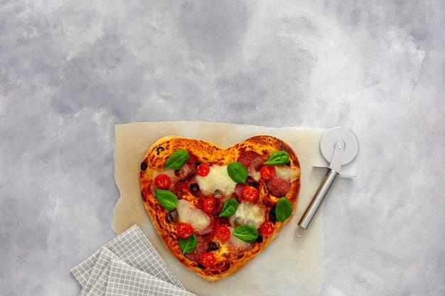Heart shaped pizza tasty love concept valentine's day design