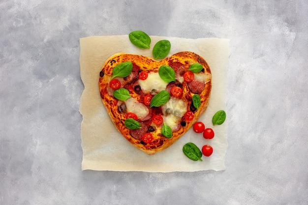 Heart shaped pizza, valentine's day design