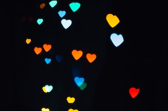 Heart-shaped specks of various colors