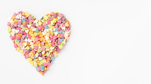 Heart-shaped sprinkles with copy space