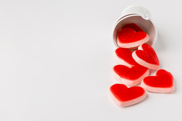 Heart-shaped sweets with copy space