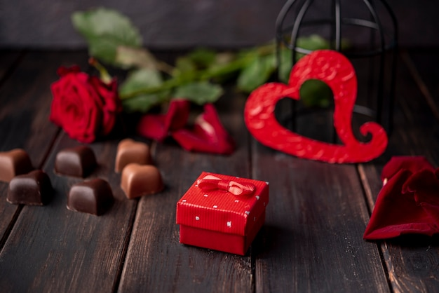 Heart-shaped valentines day chocolates with present