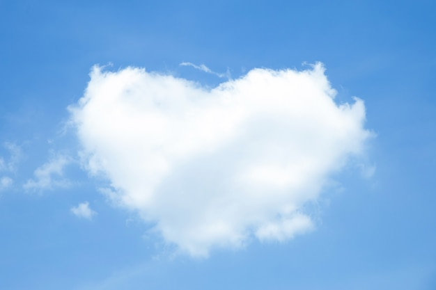 Heart-shaped white clouds on blue sky