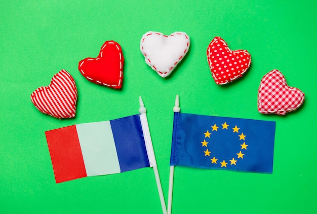 Heart shapes and flag of europe union and france