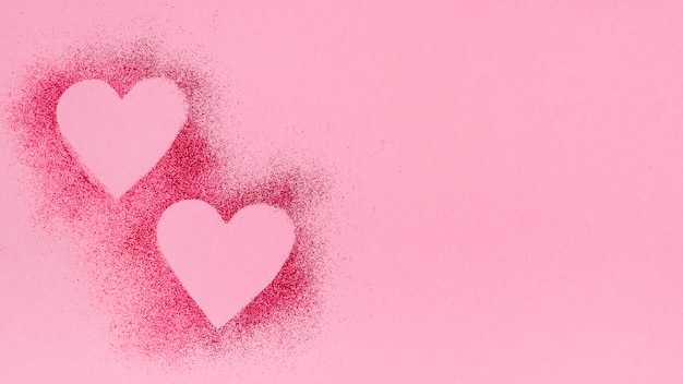 Heart shapes from glitter powder