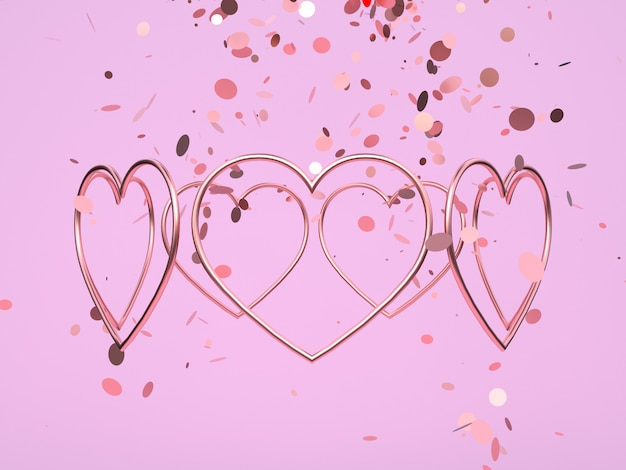 Формы сердца на розовом фоне
