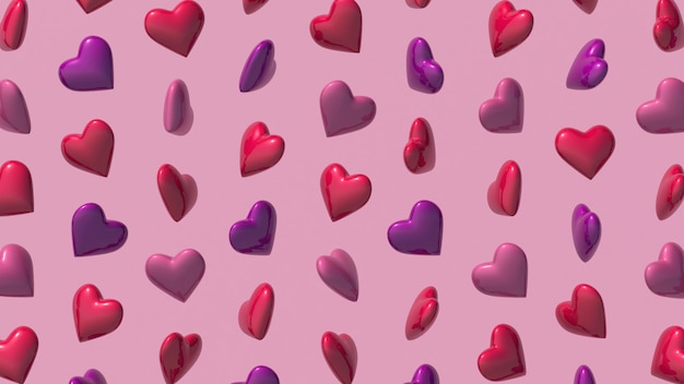 Heart shapes pattern on pink background. abstract illustration, 3d render.