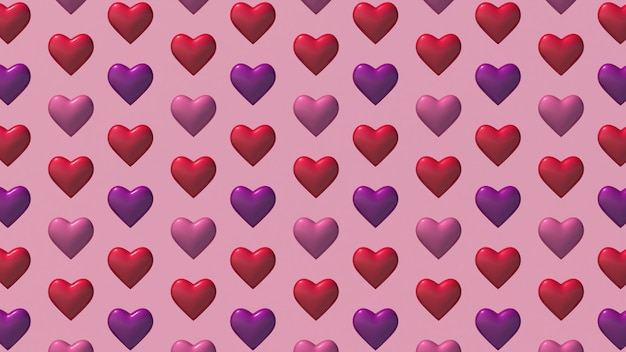 Heart shapes pattern on pink
