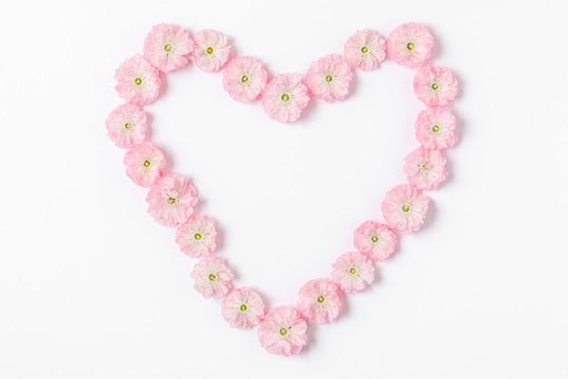 白い背景で隔離のピンクの花の春の花で作られたハートのシンボル。愛の概念。フラットレイ。上面図。バレンタインデーの背景