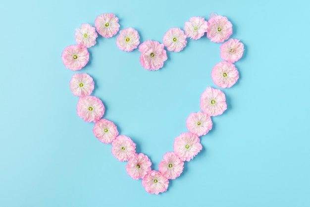 青い背景にピンクの花の春の花で作られたハートのシンボル。愛の概念。フラットレイ。上面図。バレンタインデーの背景