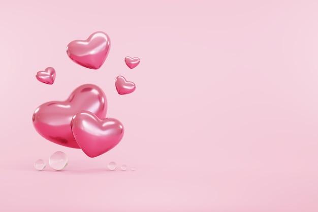 Символ сердца на розовом фоне с правой копией пространства с днем святого валентина концепция любви и заботы.
