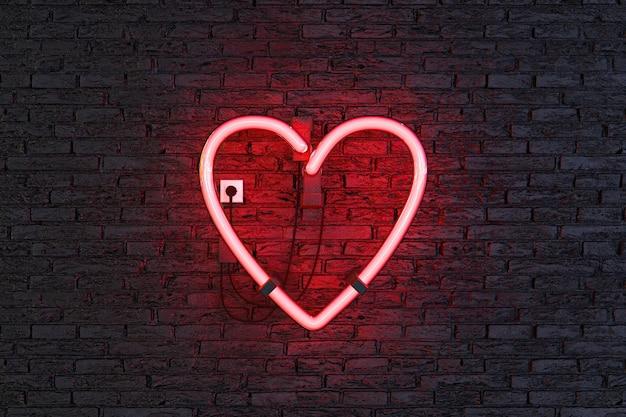 어두운 벽돌 벽과 붉은 네온 램프에 심장 기호