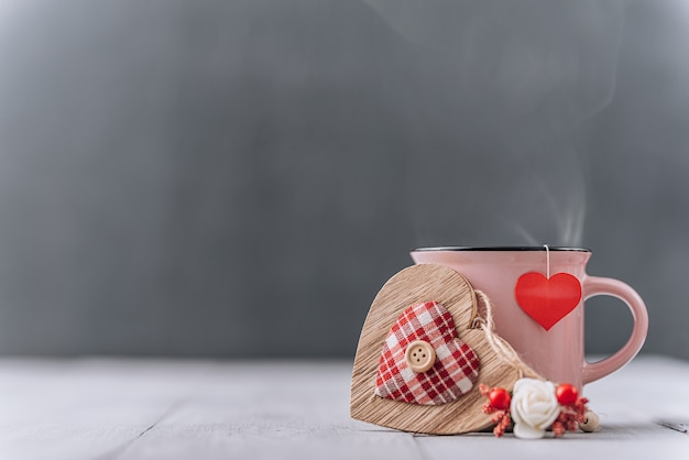 Heart and tea cup for valentines day. place for text