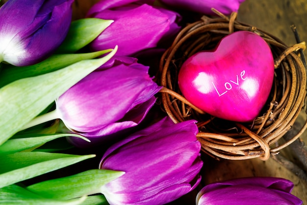 Heart and tulips