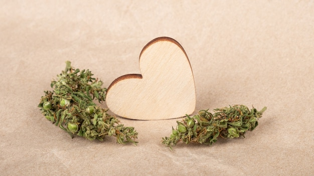 Heart valentine day with cannabis buds love symbol greeting card for marijuana lovers