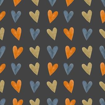Heart watercolor seamless pattern