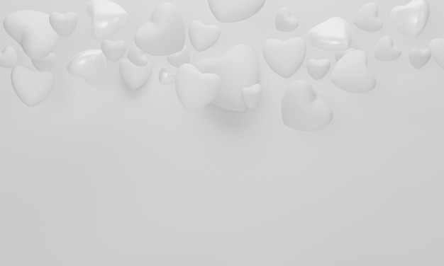 Heart on white background for happy women's, mother's, valentine's day concept. 3d rendering