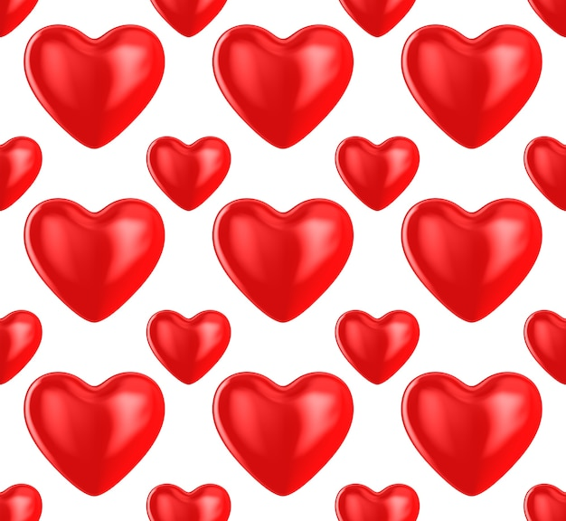 Heart on white background. seamless texture. isolated 3d illustration