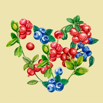 Heart of wild berries of lingonberry, blueberry