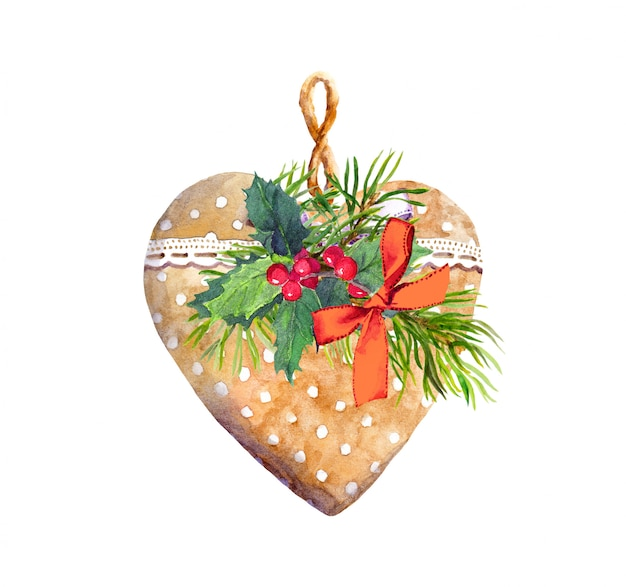 Heart with lace ribbon, pine tree, mistletoe. christmas, new year watercolor for greeting card