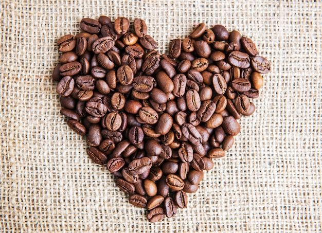 Heart with roasted coffee beans