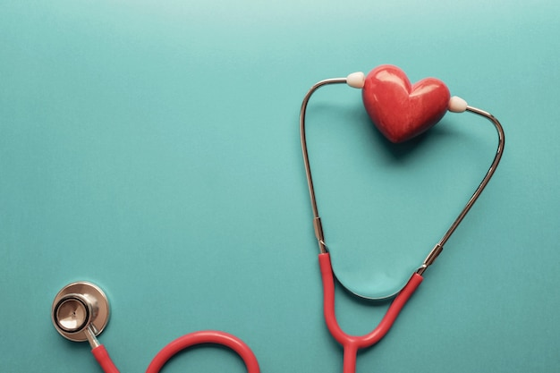 Heart with stethoscope, heart health,  health insurance concept
