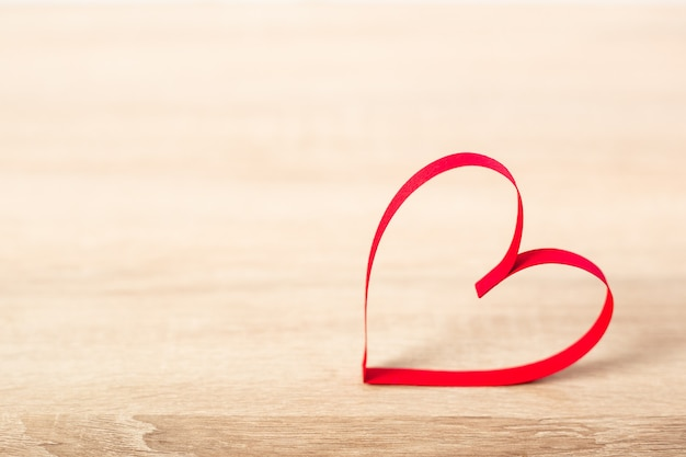 Heart on a wooden background. valentine's day concept. banner.