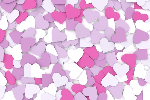 Hearts background. 3d rendering.