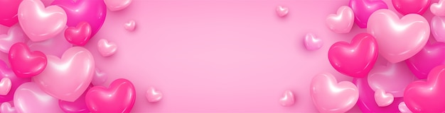 Hearts background postcard illustration bright pink background with hearts