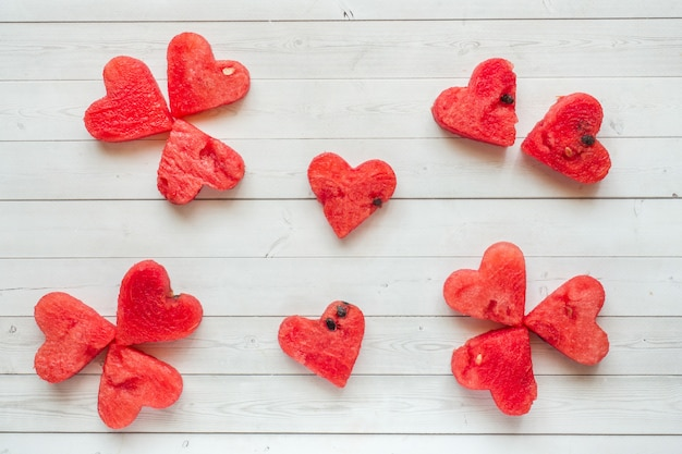 Hearts carved out of watermelon. concept of valentine's day