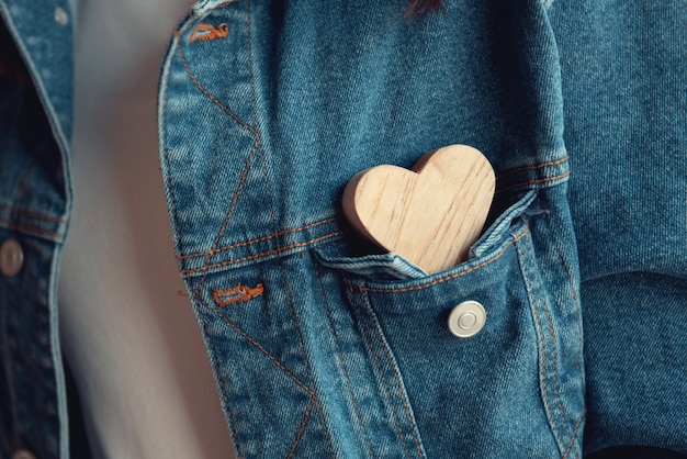 Hearts on a denim shirt close-up.valentines day.