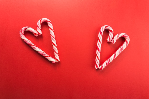 Hearts from candy canes