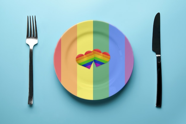 Hearts in lgbt flag colors in plate