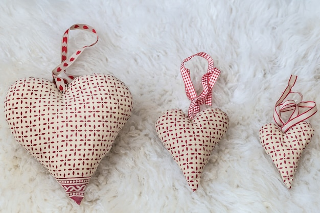 Hearts made of handmade fabric