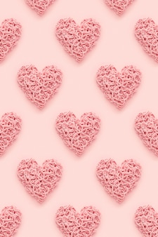 ハートのパターン、バレンタインデーの抽象的な背景。フラットレイ。