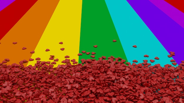 Hearts on rainbow background