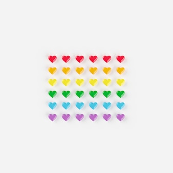 Hearts rainbow color, minimal creative concept, 3d rendering