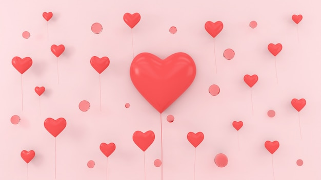 Hearts shape balloon floating love valentine concept 3d rendering