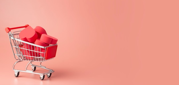 Hearts in shopping cart and supermarket trolley against colored background. background for valentine's day (february 14) and love.