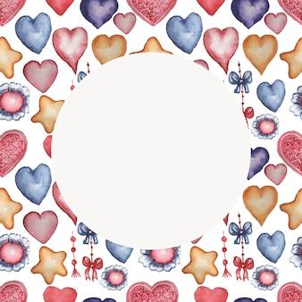 하트, 별, 꽃, 달팽이 수채화 손으로 그린 그림. 원활한 패턴입니다. 빈티지, 레트로. 빨간색, 주황색 파란색.